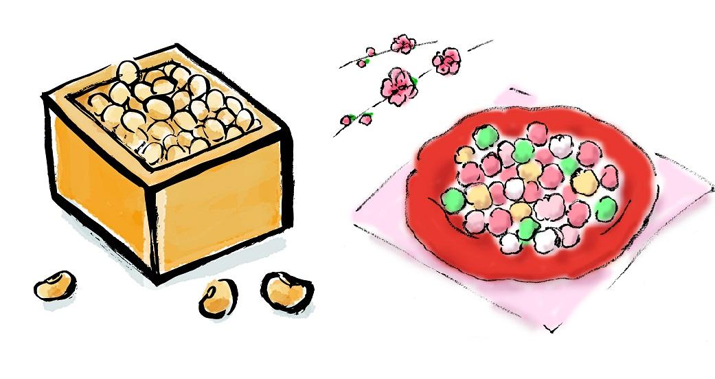 ひな祭りに食べるものは豆とあられ、どっち?の画像