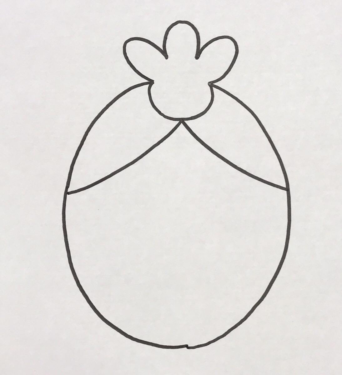 小ぶりな円の中心から卵型の円の縁に向けて、対象にカタカナの「ノ」の字を描きます