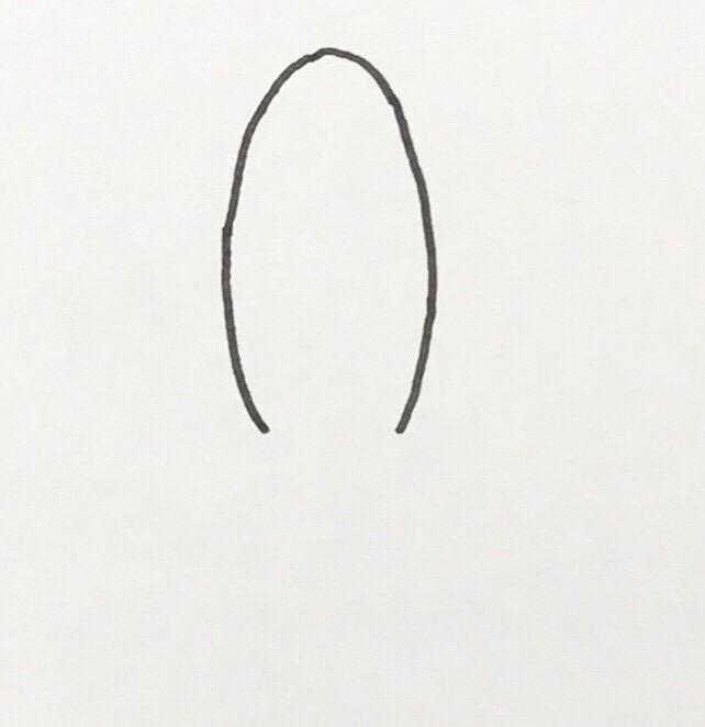 U」の字を反対にしたような突起を描きます