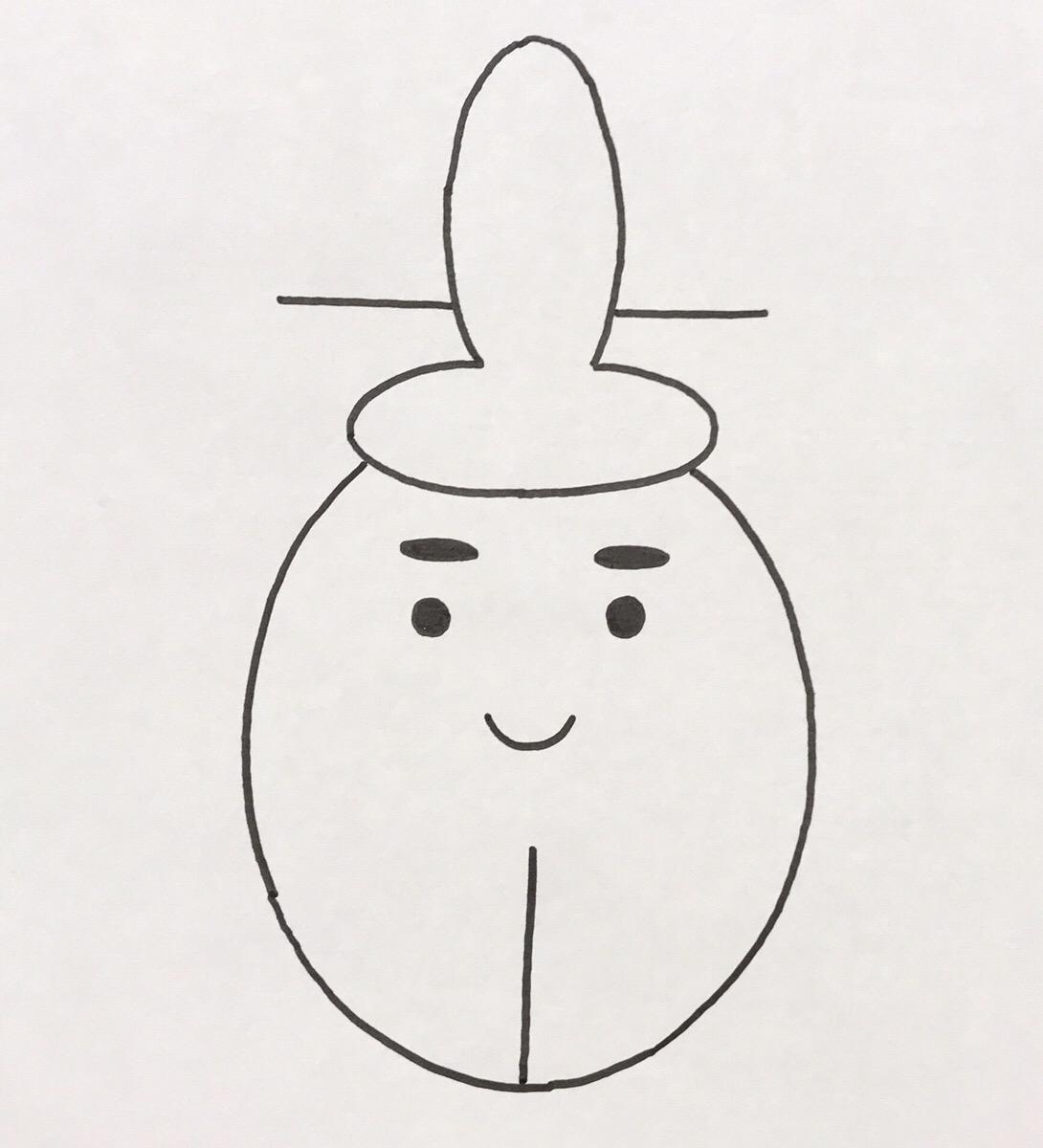 卵型の円の高さ2/3前後の部分まで、円の中央に線を引きます