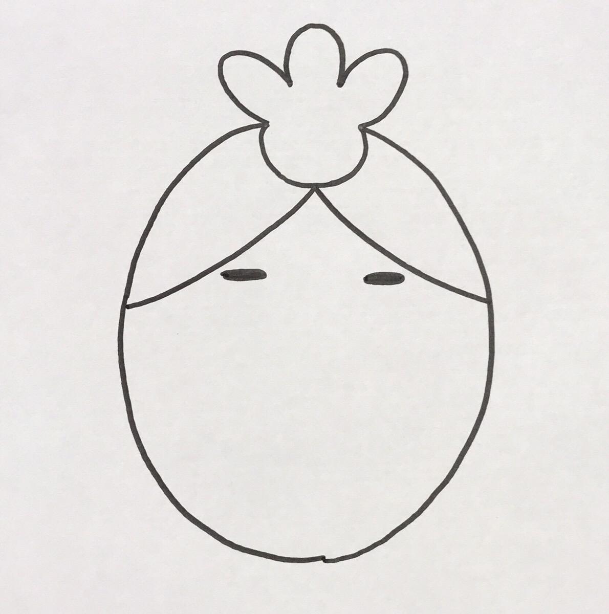 「ノ」の字の下、米粒大の黒い楕円を2つ並べて描きます